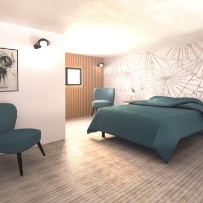 Vue 3D chambre mezzanine