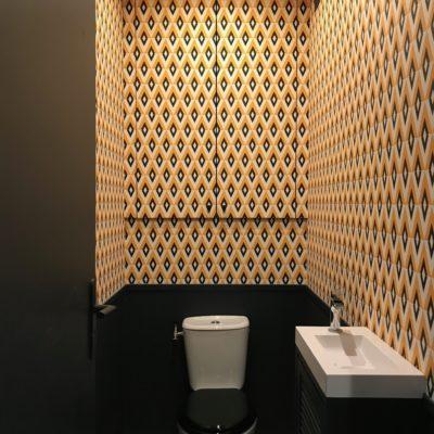 Nouveau toilettes jaune et noir Vintage